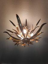 plafonnier lustre épi de blé 5 feux  métal doré