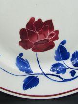 2 ancien plats faience de Badonviller décor de rose
