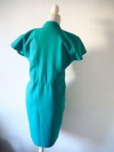 Robe fourreau boutonnée bleu vert turquoise vintage 80's