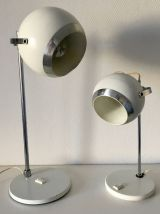 Paire grandes lampes eyeball blanche vintage 1970 - 44 cm