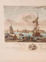 """Ancienne gravure """"Le port des sables d'olone"""" par N.Ozanne"""