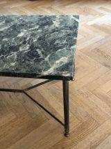 Table marbre vert des Alpes & laiton