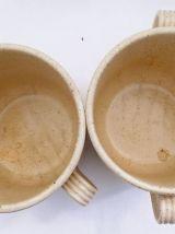 Paire de pots en céramique beige rosé