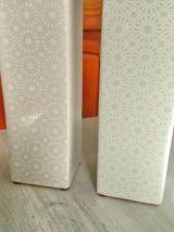Jolis vases motifs floraux vert et blanc.