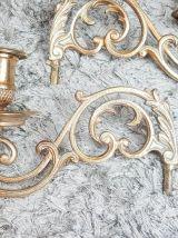 Paire de bougeoirs de piano en bronze style Art nouveau Soli