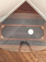Table basse plateau ovale en verre structure bois