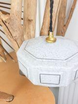 Baladeuse opaline Blanche verre de Clichy vintage Suspension