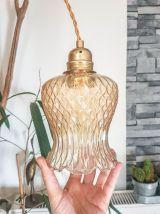 Baladeuse tulipe en verre doré vintage Suspension lumineuse