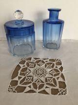 Nécessaire de salle de bains, verre bleuté, taille diamant
