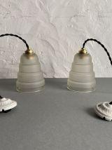 LOT 2 LAMPES SUSPENSION ART-DECO «SKYSCRAPER»