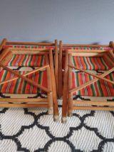 chaises pliantes vintage en bois et tissu basque