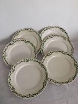 6 assiettes plates Badonviller - Modèle BUC