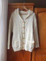 Gilet style irlandais pure laine fait main 36/38