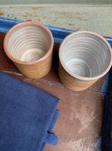Paire de pots en terre vernissée