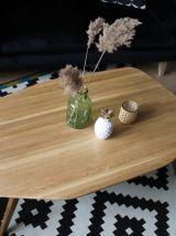 Table basse asymétrique, en chêne