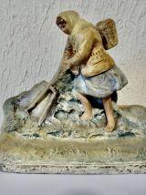 statuette pêcheur terre cuite