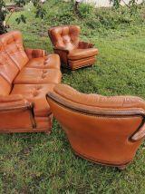 Salon complet en cuir vintage