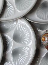 8 assiettes à coquillages/ huîtres, faïence Moulin des Loups