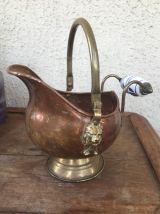 Ancien Joli Pot en cuivre Laiton et poignée en faïence