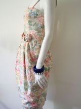 Robe bustier crayon romantique fleurie vintage 80's