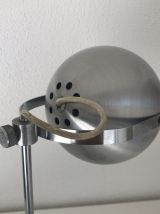 Lampe de table eyeball acier brossé Aluminor vintage 1960 -