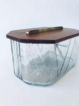 Boîte art déco bois, laiton et verre taillé