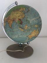 Globe terrestre verre Perrina vintage 1960 - 28 cm