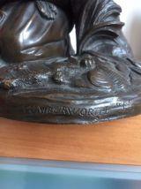 BRONZE Moise Sauvé des Eaux signé Charles Cumberworth 1850