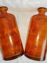Set de 2 flacons, bouteilles cuivrées type apothicaire