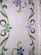 Ancien Petit Napperon Rectangle - Lin Blanc Brodé
