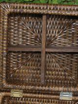 Boîte vintage rotin à compartiments