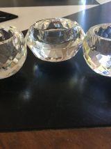 3 jolis bougeoirs cristal