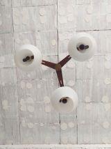 Suspension scandinve teck opaline années 60 vintage