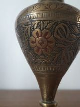 Bougeoirs et lampe en cuivre