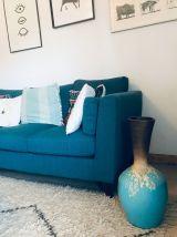 Grande jarre style Majorelle bleu et marron