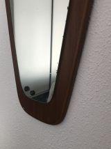 Miroir rétroviseur scandinave vintage 1960 - 74 x 36 cm