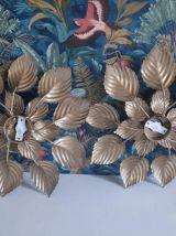 appliques murales feuilles dorées vintage des années 70