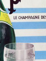 Carton pub vintage PERRIER champagne des eaux de table