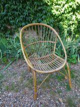 Paire de fauteuils vintage en rotin