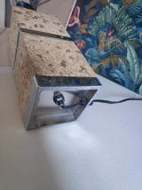 lampe de bureau en liège et acier chromé des années 70