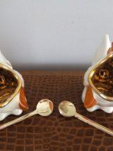 Paire de salerons  Porcelaine de Limoges  R.Montigny