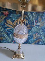 lampe ananas en verre ciselé et métal doré