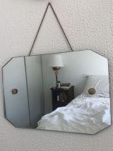 Miroir biseauté Art Déco octogonal vintage 1930 - 45 x 30 cm