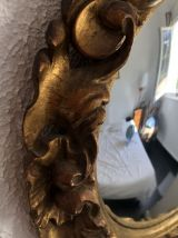 Miroir soleil sorcière en bois sculpté vintage 1950 - 33 cm