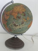 Globe terrestre verre Perrina vintage 1960 - 30 cm