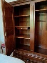 Chambre complète (lit, armoire, commode, chevet) en bois mas