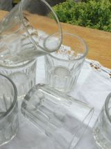 Servide 6 verres bullés anciens / pots confiture
