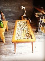 Ancienne table basse sculptée, vintage