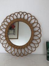 Miroir soleil fleur rotin vintage 1960 - 41 cm
