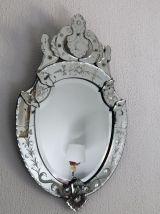 Miroir Vénitien Médaillon Murano fin du 19ème siècle - 73 x